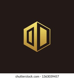 OD Logo Monogram with Negative space gold colors