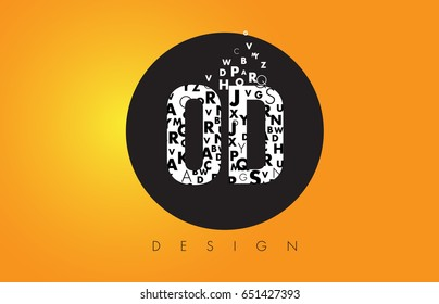 OD O D Logo Design Made of Small Letters with Black Circle and Yellow Background.