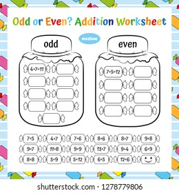 Odd or Even? Addition Worksheet. Educational Game. Mathematical Puzzle. Vector illustration.