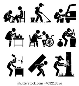 Odd Jobs - Shoe Shine, Janitor, Car Wash, Babysitter, Elderly Care, Garbage Collector, Butcher, Hard Labor, and Rubber Tapper - Stick Figure Pictogram Icons