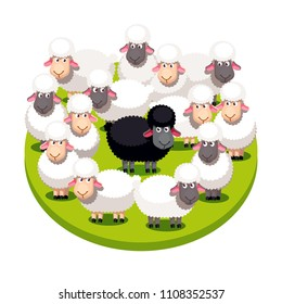 Odd one special black sheep standing among many white sheeps on summer lawn. Cartoon farm animals clipart. Sheep group protecting black. Domestic animals. Flat style vector isolated illustration