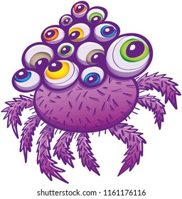 Odd purple spider with hairy body and legs, no mouth and multiple eyes in various colors and sizes. Each eye is looking at a different point reinforcing its strange look, between cute and scary