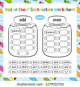 Odd or Even? Subtraction Worksheet. Educational Game. Mathematical Puzzle. Vector illustration.