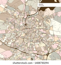 Odense Denmark art map print template, brown colored version for Apps, Print or web backgrounds