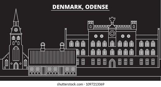 Odense silhouette skyline. Denmark - Odense vector city, danish linear architecture, buildings. Odense travel illustration, outline landmarks. Denmark flat icons, danish line banner