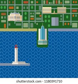 Odessa map city flat in Ukraine