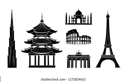 Odessa, Ukraine - 04 September 2018: Travel stickers of Indian Taj mahal, Roman Colosseum, German Triumphal arch, Paris Eiffel Tower, Chinese temple, Burj Khalifa vector illustrations.