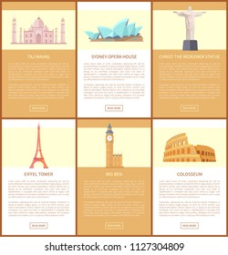 Odessa, Ukraine - 05 July 2018: Taj Mahal and Sydney Opera House, Christ the Redeemer statue, Eiffel tower, Big Ben of London, Colosseum web pages collection vector illustration