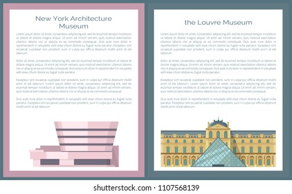 Odessa, Ukraine - 06 June 2018: New York Architecture Solomon R. Guggenheim Museum in NYC and Louvre world's largest art and historic monument vector posters set with text samples