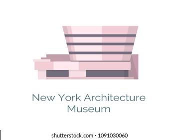 Odessa, Ukraine - 15 May 2018: New York Architecture Solomon R. Guggenheim Museum in NYC, home of Post-Impressionist, early Modern and contemporary art, vector heritage symbol isolated