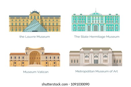 Odessa, Ukraine - 15 May 2018: Louvre State Hermitage, Vatican and Metropolitan Museums of Art vector illustration of popular world sightseeings, memorial buildings set isolated