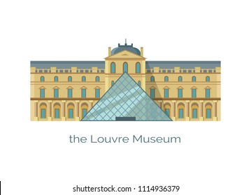 Odessa, Ukraine - 18 June 2018: Louvre museum world's largest art and historic monument in Paris, France vector illustration isolated on white, popular landmark, historical construction