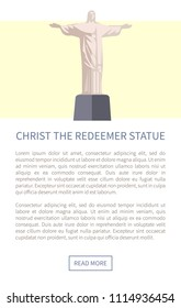 Odessa, Ukraine - 19 June 2018: Christ the redeemer statue, monument important for christians and religious people, web page with headline, text sample, button vector illustration