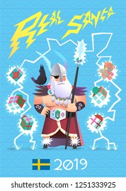 Odin is believed to be the original Santa in Scandinavian culture. He brought presents not only for kids, but for everyone. Vector illustration