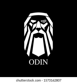 Odin Logo Design Legendary God Mascot Vector. King of Asgard Illustration Art Template Best for Print on Demand Idea