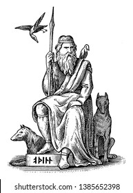 Odin is shown sitting on a raised platform, wrapped in a robe, holding a spear, Gungnir, in his hand. He is surrounded by his crows & wolves. He is the chief God in Norse mythology, vintage