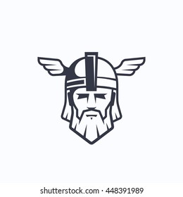 Odin Vector Sport Team or League Logo Template. Viking Face with Typography. Mighty Warrior Head in a Helmet Mascot. Isolated.