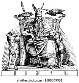 Odin, vintage engraved drawing illustration