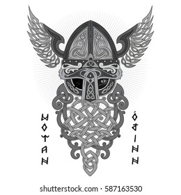 Odin, Wotan. Old Norse and Germanic mythology God in Viking Age, isolated on white, vector illustration