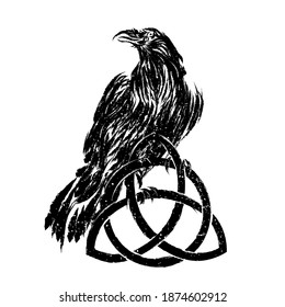 Odin's Celtic Raven. Scandinavian tattoo. Runic symbols in the Old Norse language mean Raven. Trixel, Celtic cross, Gungir and knots. Vector illustration of Scandinavian myths.