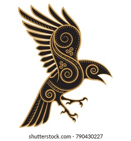 Odins Raven hand-drawn in Celtic style, isolated on white, vector illustration