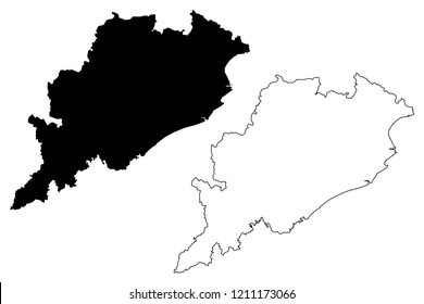 Odisha (States and union territories of India, Federated states, Republic of India) map vector illustration, scribble sketch Orissa (Utkala) state map