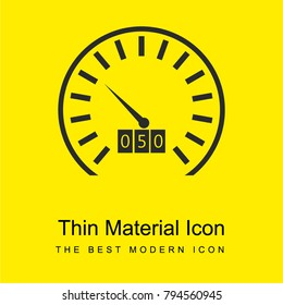 Odometer for kilometers and speed control bright yellow material minimal icon or logo design