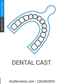 Odontic cast icon. Outline style image of dental cast.