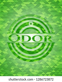 Odor green emblem with mosaic background