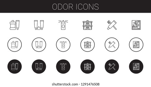 odor icons set. Collection of odor with toothpaste, hairspray, steam. Editable and scalable odor icons.