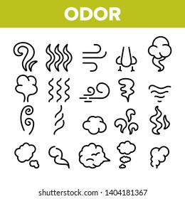 Odor, Smoke, Smell Vector Linear Icons Set. Odor, Hot Cooking Steam, Wind Outline Symbols Pack. Empty Speech Bubble, Cloud. Evaporation, Fog, Aromatic Fragrance Isolated Contour Illustrations