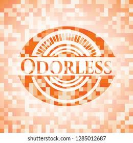 Odorless abstract emblem, orange mosaic background