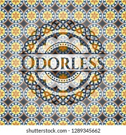 Odorless arabic emblem background. Arabesque decoration.