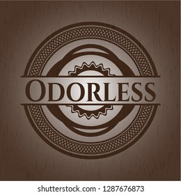 Odorless badge with wood background