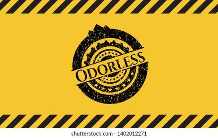 Odorless black grunge emblem inside yellow warning sign. Vector Illustration. Detailed.