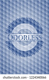 Odorless blue emblem or badge with geometric pattern background.
