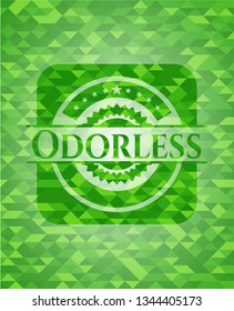 Odorless green emblem with triangle mosaic background