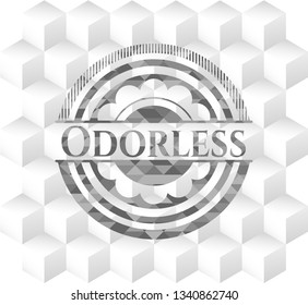 Odorless grey badge with geometric cube white background