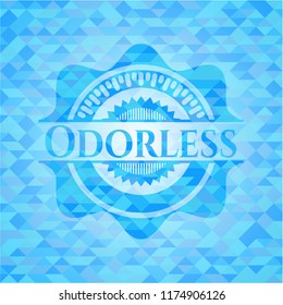 Odorless light blue emblem with triangle mosaic background