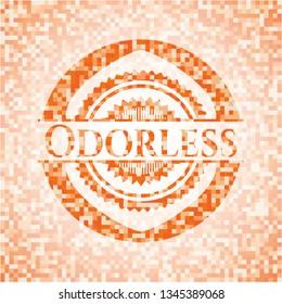 Odorless orange tile background illustration. Square geometric mosaic seamless pattern with emblem inside.