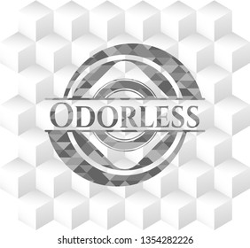 Odorless realistic grey emblem with cube white background