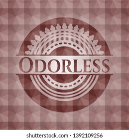 Odorless red badge with geometric background. Seamless.