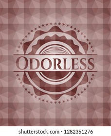 Odorless red geometric pattern emblem. Seamless.