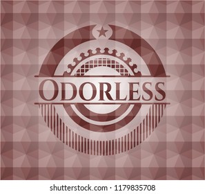 Odorless red seamless emblem or badge with geometric pattern background.