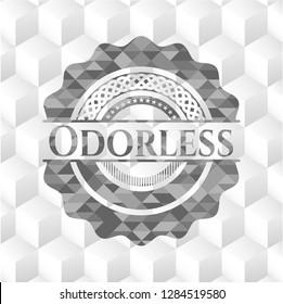 Odorless retro style grey emblem with geometric cube white background