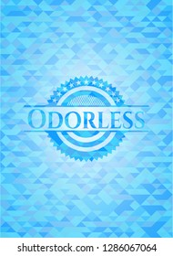 Odorless sky blue emblem with mosaic ecological style background