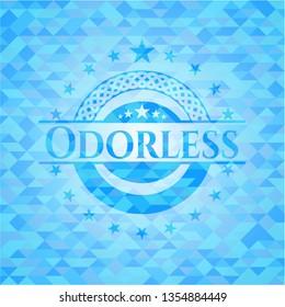 Odorless sky blue emblem. Mosaic background