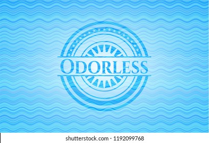 Odorless sky blue water emblem background.