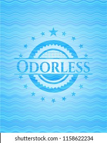 Odorless water wave representation emblem background.