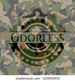 Odorless written on a camo texture